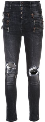 Unravel Project Zipped Knee Holes Skinny Jeans