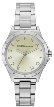 BCBGeneration Ladies 3 Hands Silver-Tone Stainless Steel Bracelet Watch, 34 mm Case