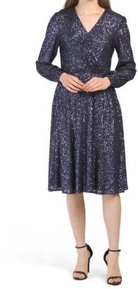 Surplice Sequin Wrap Style Dress