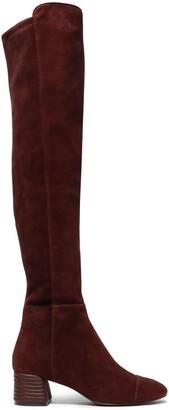 Tory Burch Embroidered Leather-paneled Stretch-suede Over-the-knee Boots