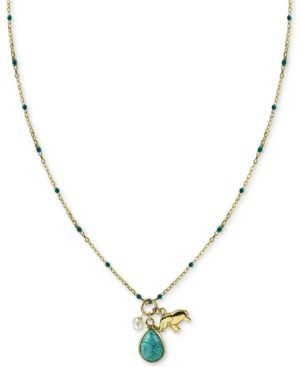 "Argentovivo Stone & Elephant Charm 18"" Pendant Necklace in Gold-Plated Sterling Silver"