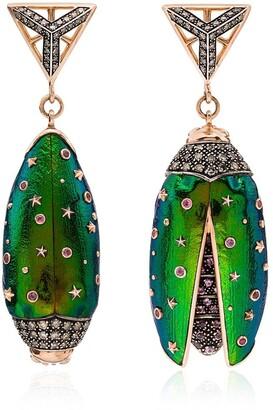 Bibi Van Der Velden 18kt rose gold Scarab drop earrings
