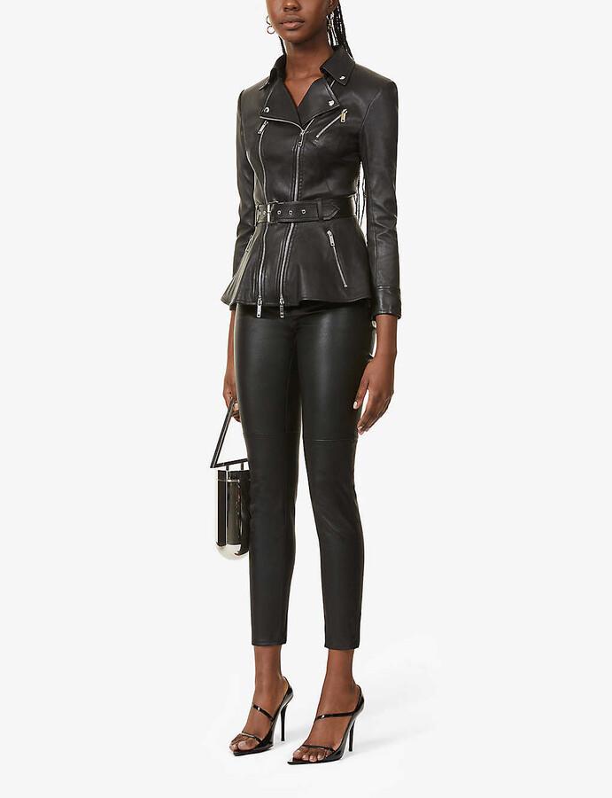 Thumbnail for your product : Jitrois Kristen peplum-hem leather jacket