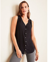 Ann Taylor Pearlized Button V-Neck Shell