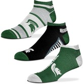 Unbranded Youth For Bare Feet Michigan State Spartans Three-Pack Show Me the Money Ankle Socks