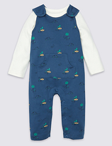 Marks and Spencer 2 Piece Pure Cotton Bodysuit & Dungaree Outfit