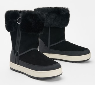 Koolaburra By Ugg by UGG Suede Faux Fur Tall Boots - Tynlee