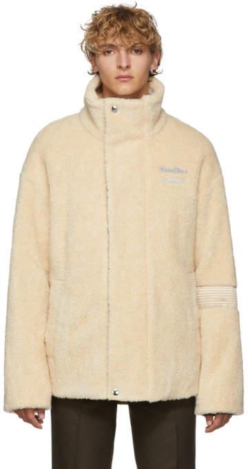 Acne Studios Beige Fleece Oversized Orsino Teddy Jacket