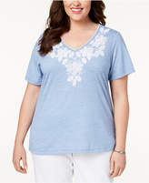 Alfred Dunner Blues Traveler Plus Size Floral-Embroidered V-Neck T-Shirt