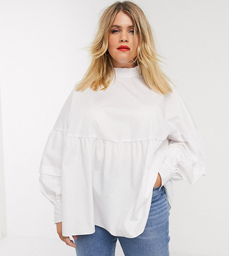 Asos DESIGN Curve long sleeve high neck smock top in cotton in ivory