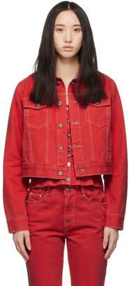 Sjyp Red Denim Fitted Jacket