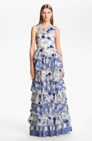 Alice + Olivia 'Dahlia' Tiered Lace Gown