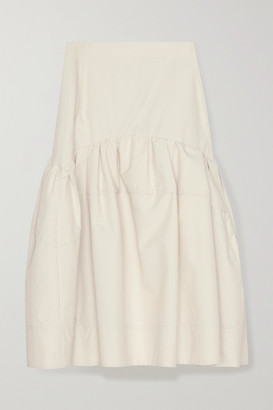 3.1 Phillip Lim Gathered Cotton-blend Poplin Midi Skirt - Off-white