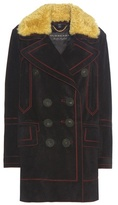 Burberry Suede Coat With Shearling Collar