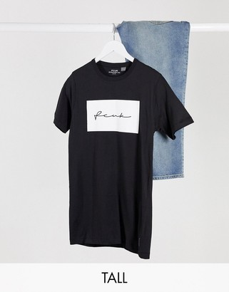 French Connection Tall script oversized t-shirt in black