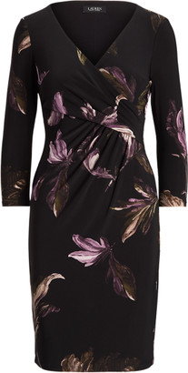 Ralph Lauren Print Surplice Jersey Dress