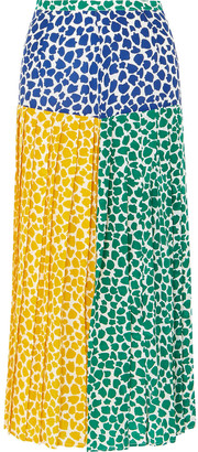 Rixo Tina Pleated Printed Silk Crepe De Chine Midi Skirt