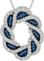 FINE JEWELRY 1/2 CT. T.W. White and Color-Enhanced Blue Diamond Circle Pendant Necklace