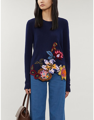 Etro Floral-stitched knitted sweater