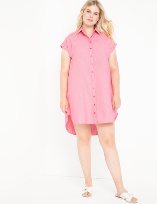 ELOQUII Easy Stepped Hem Shirtdress
