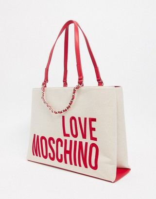 Love Moschino tote bag with large logo in natural