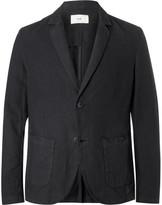 Folk Unstructured Linen And Cotton-blend Blazer - Black