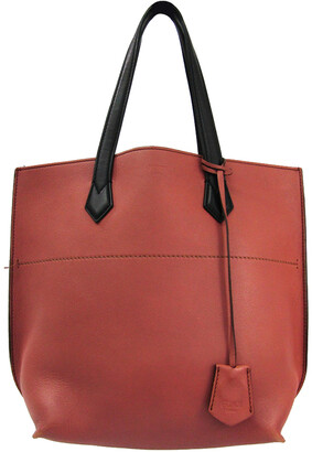 Fendi Rose Pink/Black Leather All In Shopping Tote