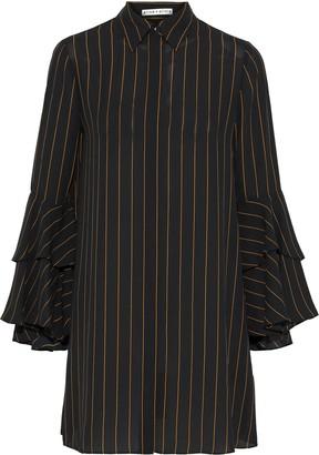 Alice + Olivia Jem Ruffled Pinstriped Crepe De Chine Mini Shirt Dress