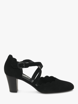 Gabor Fiji Wide Fit Suede Cross Strap Block Heeled Court Shoes, Black