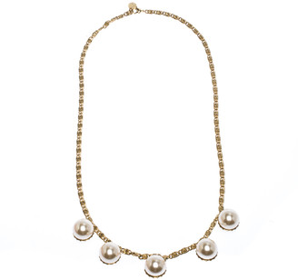 Carolina Herrera CH Faux Pearl Gold Tone Long Chain Link Necklace