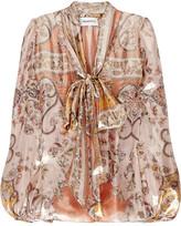 Emilio Pucci Metallic printed silk and Lurex blouse