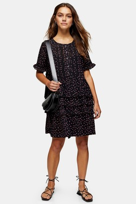 Topshop PETITE Black Ditsy Ladder Trim Mini Dress