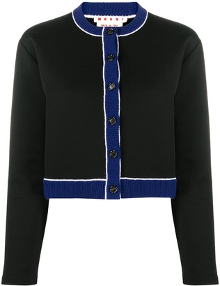 Marni Virgin Wool Button-Down Crop Cardigan With Bold Stripe