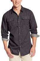 Burnside Men's Locked Solid Button Down Long Sleeve Woven Shirt