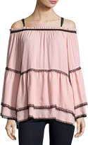 Romeo & Juliet Couture Chiffon and Lace Off-the-Shoulder Top, Pink