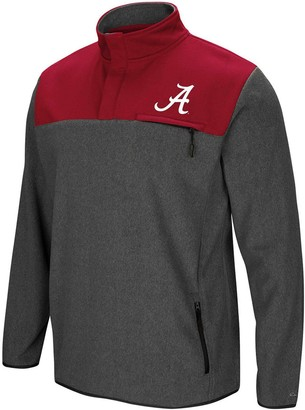 Colosseum Men's Heathered Charcoal Alabama Crimson Tide You Can Do It Half-Snap Fleece Jacket