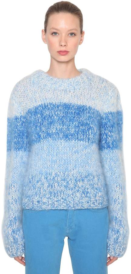 Ganni Julliard Striped Mohair Knit Sweater