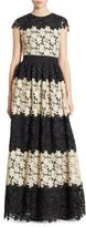 Alice + Olivia Noel Colorblock Lace Gown