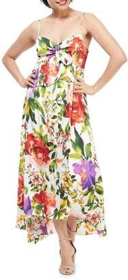 London Times Tie-Front Floral Maxi Dress
