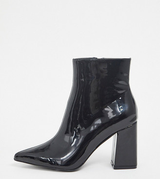 Public Desire Wide Fit Empire block heeled ankle boot in black patent