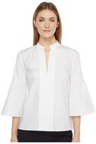 Ellen Tracy Collarless Lantern Sleeve Shirt Women's Clothing
