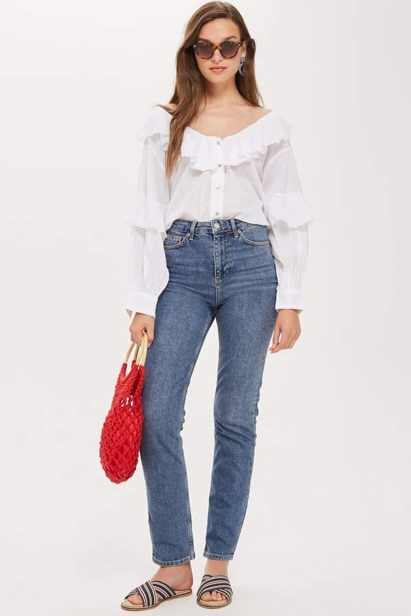 Topshop Womens Tall Straight Leg Jeans - Mid Stone