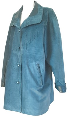 Non Signé / Unsigned Non Signe / Unsigned Turquoise Suede Coat for Women