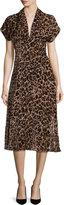 Alice + Olivia Brandee Draped-Neck Leopard-Print Midi Dress