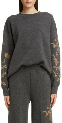 Dries Van Noten Tabasco Metallic Rose Merino Wool Blend Sweater
