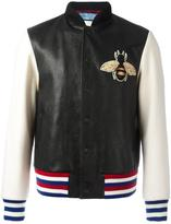 Gucci bee appliqué bomber jacket - men - Lamb Skin/Cupro/Wool - 50