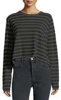 The Great Long-Sleeve Striped Cotton Crop Tee