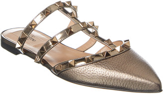 Valentino Rockstud Grainy Metallic Leather Flat