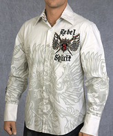 Rebel Spirit White 'Rebel Spirit' Long-Sleeve Button-Up - Men's Regular
