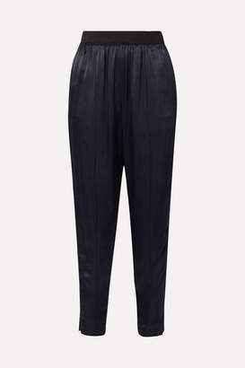 By Malene Birger Ietos Grosgrain-trimmed Satin Tapered Pants - Navy
